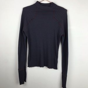 Free People Mock Neck Knit Thermal Sweater Med